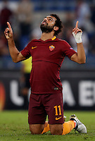 Calcio, Europa League: Roma vs Astra Giurgiu. Roma, stadio Olimpico, 29 settembre 2016.<br /> Roma&rsquo;s Mohamed Salah celebrates after scoring during the Europa League Group E soccer match between Roma and Astra Giurgiu at Rome's Olympic stadium, 29 September 2016. Roma won 4-0.<br /> UPDATE IMAGES PRESS/Isabella Bonotto
