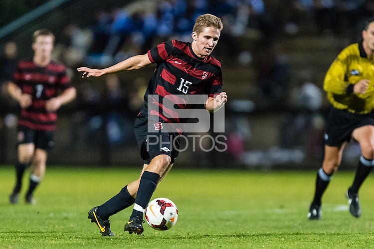 November 13, 2013:  Eric Verson during the Stanford vs Cal men's soccer match in Stanford, California.  Stanford won 2-1 in overtime.