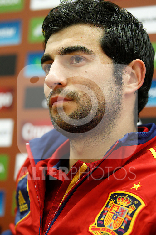 Spanish national football team Raul Albiol in press conference.May 22,2012.(ALTERPHOTOS/Acero)