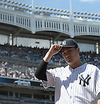 Masahiro Tanaka (Yankees),<br /> AUGUST 9, 2015 - MLB :<br /> New York Yankees starting pitcher Masahiro Tanaka walks back to the dugout after the top of the sixth inning during the Major League Baseball game against the Toronto Blue Jays at Yankee Stadium in the Bronx, New York, United States. (Photo by AFLO)