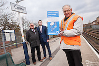 PIctured at Carlton Station holding the new Castle Line Timetable is Station Adopter Tony Cave, whilst looking on are Cllr John Clarke, Leader of Gedling Borough Council (left) and Malcolm Payne, Deputy Leader of Gedling Borough Council.