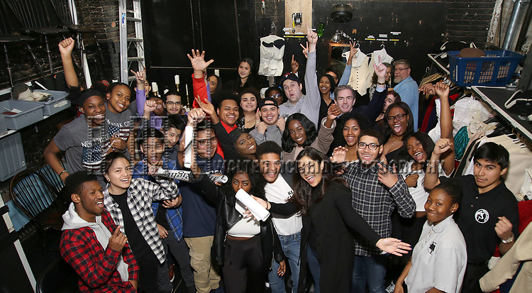 """Taran Killam and James Basker, President of the Gilder Lehrman Institute, with Student performers attend The Rockefeller Foundation and The Gilder Lehrman Institute of American History sponsored High School student #EduHam matinee performance of """"Hamilton"""" at the Richard Rodgers Theatre on 3/29/2017 in New York City."""