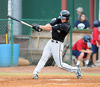 Outfielder Dusty Harvard (21) of the Bristol White Sox, Appalachian League affiliate of the Chicago White Sox, in a game against the Elizabethton Twins on August 18, 2011, at Joe O'Brien Field in Elizabethton, Tennessee. Elizabethton defeated Bristol, 13-3. (Tom Priddy/Four Seam Images)