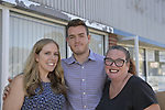 East Meadow, New York, USA. October 1, 2017. At campaign office Grand Opening of East Meadow Democrats are (L-R) SUE MOLLER, HUNTER GROSS, and LAUREN CORCORAN-DOOLIN