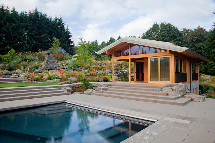 View of the yoga pavilion and swimming pool