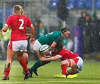 9th February 2020; Energia Park, Dublin, Leinster, Ireland; International Womens Rugby, Six Nations, Ireland versus Wales; Michelle Claffey of Ireland loses the ball as she is tackled by Bethan Lewis of Wales