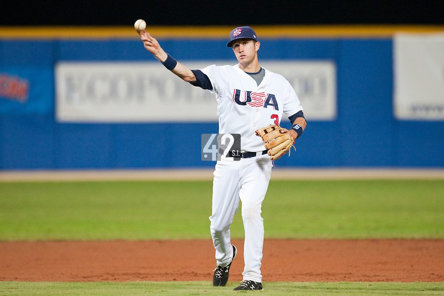 24 September 2009: Trevor Plouffe of Team USA throws the ball during the 2009 Baseball World Cup final round match won 5-3 by Team USA over Cuba, in Nettuno, Italy.