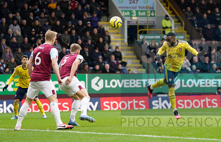 Alexandre Lacazette of Arsenal directs a header towards goal during the Premier League match at Turf Moor, Burnley. Picture date: 2nd February 2020. Picture credit should read: Andrew Yates/Sportimage