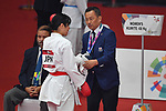 (L-R)  Kayo Someya, €  Hideto Nakano (JPN), <br /> AUGUST 27, 2018 - Karate : Women's Kumite -68kg Final at Jakarta Convention Center Plenary Hall during the 2018 Jakarta Palembang Asian Games in Jakarta, Indonesia. <br /> (Photo by MATSUO.K/AFLO SPORT)