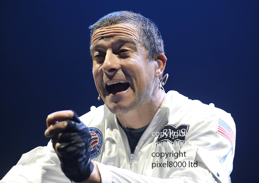"Pic shows: Bear Grylls - Endeavour show - dress rehearsal for his new show at Wembley Arena<br /> 6/10/16<br /> He brings his son Huckleberry to the stage to re-enact the Apollo 13  mission and has them both flying through ""space"" on wires high above the stage whilst they fix the lunar module<br /> <br /> Pic by Gavin Rodgers/Pixel 8000 Ltd"