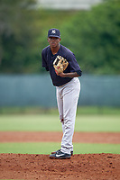 GCL Yankees East pitcher Jose Peguero (40) during a Gulf Coast League game against the GCL Phillies West on August 3, 2019 at the Carpenter Complex in Clearwater, Florida.  The GCL Phillies West defeated the GCL Yankees East 15-7 in a completion of a game that was originally started on July 26, 2019.  (Mike Janes/Four Seam Images)