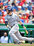 29 May 2011: San Diego Padres outfielder Chris Denorfia in action against the Washington Nationals at Nationals Park in Washington, District of Columbia. The Padres defeated the Nationals 5-4 to take the rubber match of their 3-game series. Mandatory Credit: Ed Wolfstein Photo