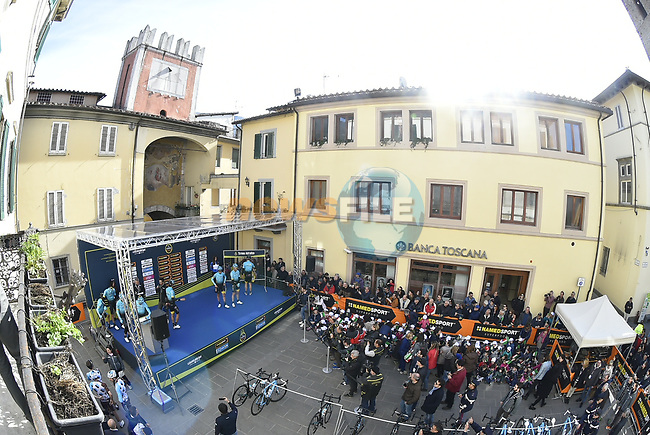 Astana Pro Cycling Team arrive at sign on before the start of stage 2 of the 2017 Tirreno Adriatico running 229km from Camaiore to Pomarance, Italy. 9th March 2017.<br /> Picture: La Presse/Fabio Ferrari | Cyclefile<br /> <br /> <br /> All photos usage must carry mandatory copyright credit (&copy; Cyclefile | La Presse)