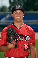 Batavia Muckdogs pitcher Karl Craigie (12) poses for a photo on July 2, 2018 at Dwyer Stadium in Batavia, New York.  (Mike Janes/Four Seam Images)