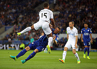 Pictured: Wayne Routledge of Swansea and Robert Huth of Leicester City Saturday 27 August 2016<br /> Re: Swansea City FC v Leicester City FC Premier League game at the King Power Stadium, Leicester, England, UK