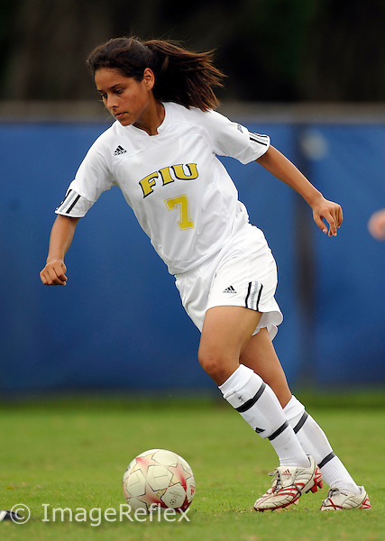 Florida International University women's soccer player forward Claudia Cardenas (7) plays against the University of Buffalo which won the game 2-0 on August 31, 2008 at Miami, Florida. .