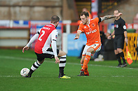Blackpool's Harry Pritchard under pressure from Exeter City's Pierce Sweeney<br /> <br /> Photographer Kevin Barnes/CameraSport<br /> <br /> Emirates FA Cup First Round - Exeter City v Blackpool - Saturday 10th November 2018 - St James Park - Exeter<br />  <br /> World Copyright © 2018 CameraSport. All rights reserved. 43 Linden Ave. Countesthorpe. Leicester. England. LE8 5PG - Tel: +44 (0) 116 277 4147 - admin@camerasport.com - www.camerasport.com