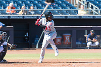 Scottsdale Scorpions shortstop Alfredo Rodriguez (3), of the Cincinnati Reds organization, at bat during an Arizona Fall League game against the Peoria Javelinas at Peoria Sports Complex on October 18, 2018 in Peoria, Arizona. Scottsdale defeated Peoria 8-0. (Zachary Lucy/Four Seam Images)