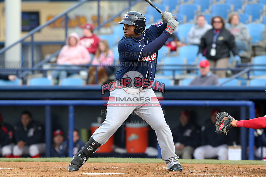 New Hampshire Fisher Cats first baseman Mike McDade #40 during a game against the Reading Phillies at FirstEnergy Stadium on April 10, 2012 in Reading, Pennsylvania.  New Hampshire defeated Reading 3-2.  (Mike Janes/Four Seam Images)