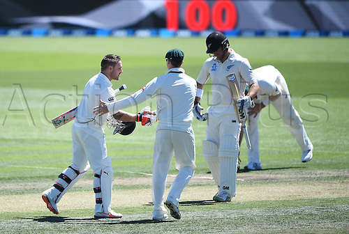 20.02.2016. Christchurch, New Zealand.  Brendon McCullum celebrates a world record test century as he is congratulated by Austrlian captain Steve Smith. New Zealand Black Caps versus Australia. Day 1, 2nd test match, Hagley Oval in Christchurch, New Zealand. Saturday 20 February 2016.