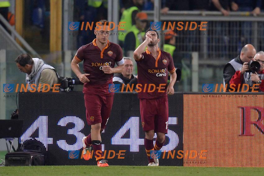 Esultanza Miralem Pjanic Roma dopo il gol. Goal celebration 1-0 <br /> Roma 25-04-2014 Stadio Olimpico - Football Calcio 2013/2014 Serie A, AS Roma - Milan, Foto Andrea Staccioli / Insidefoto