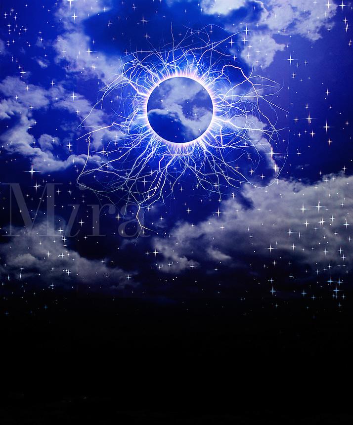 Photo illustration of sky, stars and kirlian energy.