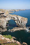 The Green Bridge of Wales, St Govans, Pembrokeshire coast national park, Wales The Green Bridge of Wales is a classic example of a natural arch and is an excellent illustration of the way that headlands are eroded in stages by the sea - caves are enlarged to form an arch, eventually the arch collapses to form a stack, further erosion reduces the stack to a stump.