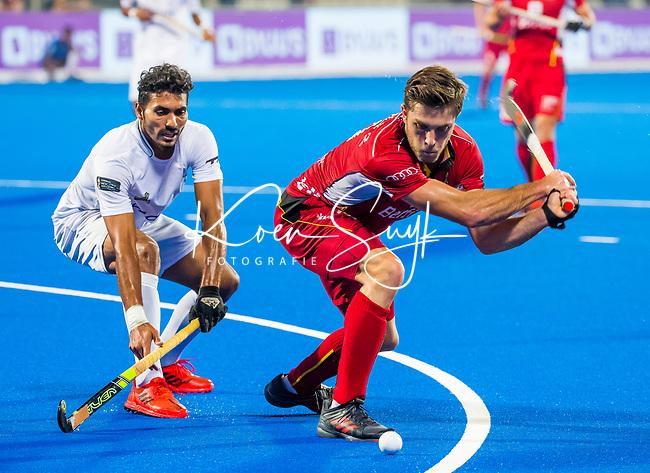 BHUBANESWAR (INDIA) - Cedric Charlier (Belgie) scoort 3-0  tijdens Belgie-Pakistan bij het WK Hockey heren.    COPYRIGHT KOEN SUYK