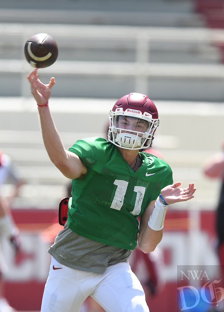 NWA Democrat-Gazette/J.T. WAMPLER Arkansas' quarterback Daulton Hyatt makes a pass during practice Saturday April 15, 2017 at Donald W. Reynolds Razorback Stadium in Fayetteville.