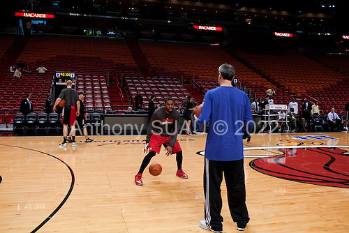 Miami, Florida<br /> January 29, 2012<br /> <br /> The Chicago Bulls warm up on court just hours before the basketball game against the Miami Heat.