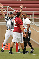 21 April 2007: Corey Hill scores whlie defended by Coleman Hutzler during the Alumni's 38-33 victory over the coaching staff during a flag football exhibition at Stanford Stadium in Stanford, CA.