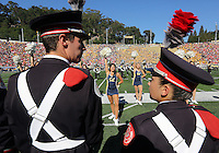 Ohio State Marching Band members wait to take the field for the National Anthem as the California band and cheerleaders perform prior to the NCAA football game at Memorial Stadium in Berkeley, California on Sept. 14, 2013. (Adam Cairns / The Columbus Dispatch)