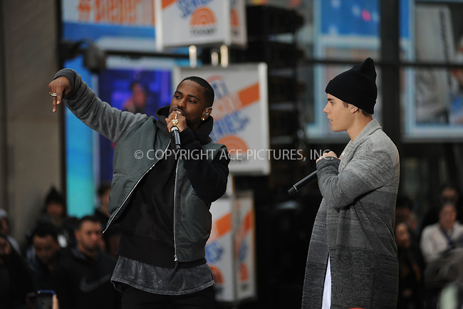 WWW.ACEPIXS.COM<br /> November 18, 2015 New York City<br /> <br /> Big Sean and Justin Bieber performing in concert on NBC TODAY at Rockefeller Plaza on November 12, 2015 in New York City.<br /> <br /> Credit: Kristin Callahan/ACE<br /> <br /> Tel: (646) 769 0430<br /> e-mail: info@acepixs.com<br /> web: http://www.acepixs.com