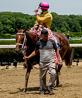 ELMONT, NY - JUNE 09: Jockey Flavien Pratt celebrates his win aboard Monomoy Girl in the Acorn Stakes on Belmont Stakes Day at Belmont Park on June 9, 2018 in Elmont, New York. (Photo by Eric Patterson/Eclipse Sportswire/Getty Images)