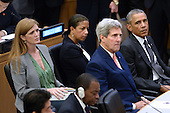 (L-R) United States Ambassador to the United Nations Samantha Power,  Susan E. Rice, United States National Security Advisor, John Kerry, US Secretary of State and US President Barack Obama sit together before the President Obama gives remarks on the Ebola epidemic at the United Nations in New York, NY, on September 25, 2014. <br /> Credit: Anthony Behar / Pool via CNP