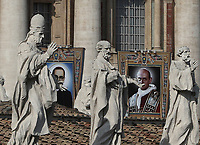 Tapestries portraying  Archbishop Oscar Romero (l) and Paolo Vi on the facade of St. Peter's Basilica on the occasion of a mass for their canonization in St. Peter's Square at the Vatican, on October 14, 2018.<br /> UPDATE IMAGES PRESS/Isabella Bonotto<br /> <br /> STRICTLY ONLY FOR EDITORIAL USE