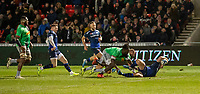 3rd January 2020; AJ Bell Stadium, Salford, Lancashire, England; English Premiership Rugby, Sale Sharks versus Harlequins;  Gabriel Ibitoye  of Harlequins  fails to stop  Luke James  of Sale Sharks from scoring their third try in the first half to make the score 24-10 at half time - Editorial Use