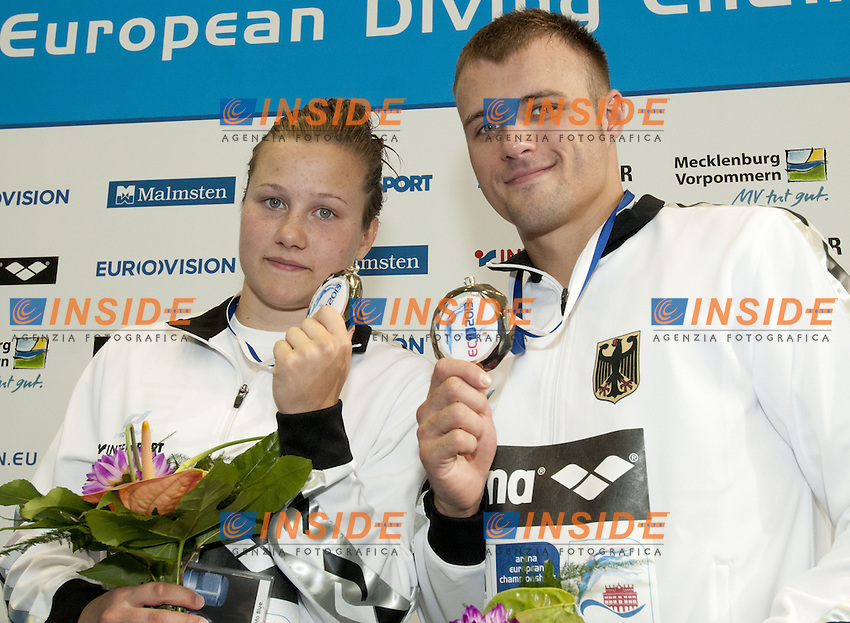 podium team event<br /> silver KLEIN-PUNZEL GER<br /> Arena European Diving Championships<br /> 18/6/2013  Rostock GER Germany<br /> Day 01Team Event<br /> Photo G. Scala/Inside/deepbluemedia.eu