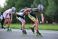 INLINE-SKATEN: STEENWIJK: Gagelsweg (start/finish), Schansweg, Meppelerweg, KPN Inline Cup, Klim van Steenwijk, 02-05-2012, Stefan due Schmidt (#538), Kevin Floris (#76), ©foto Martin de Jong