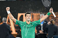 January 2, 2020: 2nd seed NOVAK DJOKOVIC (SRB) is the Australian Open champion after defeating 5th seed DOMINIC THIEM (AUT) on Rod Laver Arena in the Men's Singles Final match on day 14 of the Australian Open 2020 in Melbourne, Australia. Photo Sydney Low