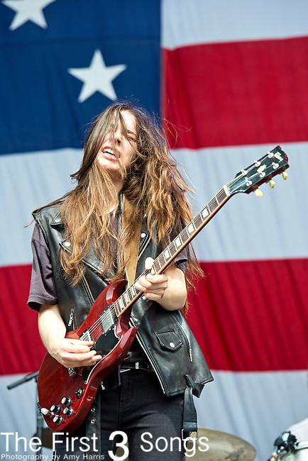 Danielle Haim of Haim performs during the 2013 Budweiser Made in America Festival in Philadelphia, Pennsylvania.