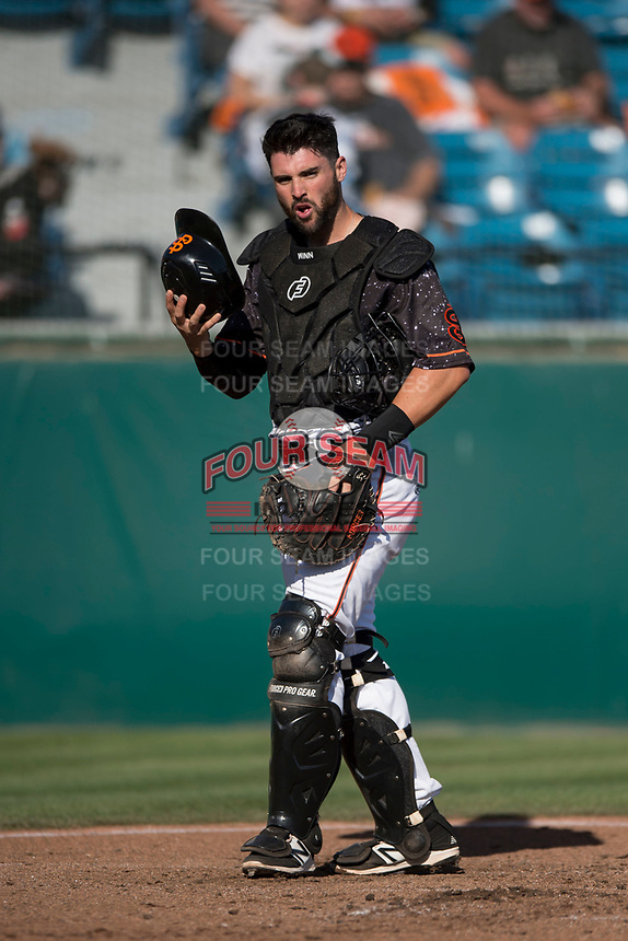 San Jose Giants catcher Matt Winn (10) during a California League game against the Lancaster JetHawks at San Jose Municipal Stadium on May 12, 2018 in San Jose, California. Lancaster defeated San Jose 7-6. (Zachary Lucy/Four Seam Images)