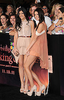 "LOS ANGELES, CA - NOVEMBER 14: Kylie Jenner and Kendall Jenner arrive at the Los Angeles premiere of ""The Twilight Saga: Breaking Dawn Part 1"" held at Nokia Theatre L.A. Live on November 14, 2011 in Los Angeles, California. /NortePhoto.com<br />
