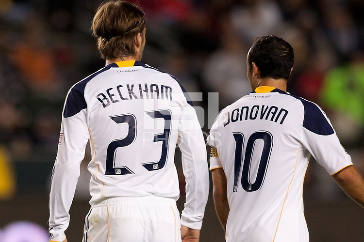 David Beckham (23) congratulates Landon Donovan (10) after scoring his second goal of the game. The LA Galaxy defeated the Portland Timbers 3-0 at Home Depot Center stadium in Carson, California on  April  23, 2011....