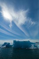 Icebergs, sun & wispy clouds