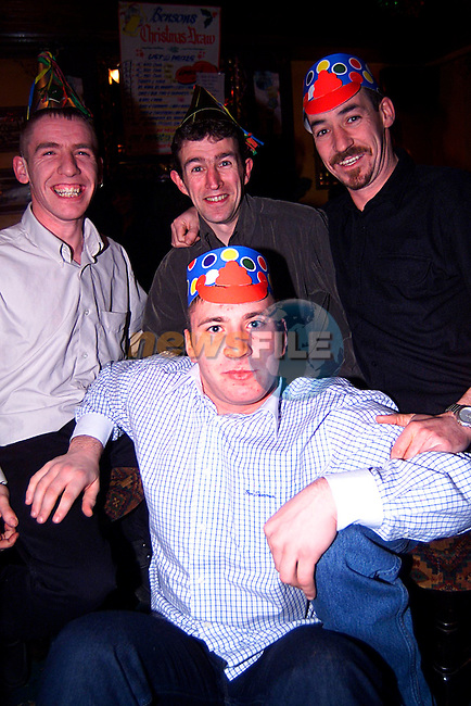 James Fennell  Derek Bradley  Paddy Murray  Ray McEvon in Bensons on new years eve..Pic Tony Campbell/Newsfile