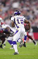 Dec 6, 2009; Glendale, AZ, USA; Minnesota Vikings wide receiver (12) Percy Harvin against the Arizona Cardinals at University of Phoenix Stadium. The Cardinals defeated the Vikings 30-17. Mandatory Credit: Mark J. Rebilas-