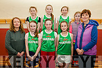Community Games Basketball: The Tralee Oakpart U/13 girls Basketball team pictured in the Duagh Sports centre on Saturday last. Front : Caroline Casey, coach, Aisling O'Connell, Graine Quirke, Lynda O'Connor & Brenda O'Connell, coach. Back: Caoilinn O'Brien, Mary Moore, Aisling Casey & Aoife O'Connell.