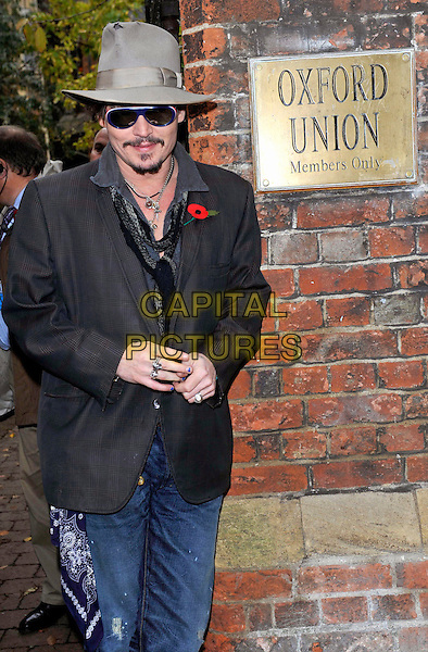 Johnny Depp arrives to address the Oxford Union, Oxford, England..November 5th 2011.half length jacket jeans denim sunglasses shades poppy grey gray silver necklaces goatee facia hair  scarf.CAP/JIL.©Jill Mayhew/Capital Pictures