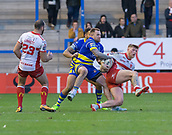 9th February 2019, Halliwell Jones Stadium, Warrington, England; Betfred Super League rugby, Warrington Wolves versus Hull KR; Danny Addy of Hull KR is tackled by Blake Austin
